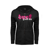 ENZA Ladies Black Fleece Full Zip Hoodie-BMX Grandma