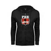 ENZA Ladies Black Fleece Full Zip Hoodie-PRO 1 USA BMX Shield Distressed