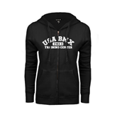 ENZA Ladies Black Fleece Full Zip Hoodie-Arched USA BMX 2014 Training Center