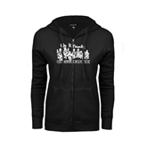 ENZA Ladies Black Fleece Full Zip Hoodie-We R Family