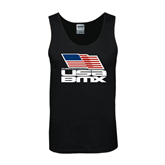 Black Tank Top-Flag on Stacked USA BMX