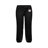 ENZA Ladies Black Banded Fleece Capri-Riders on Stacked USA BMX