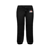 ENZA Ladies Black Banded Fleece Capri-Flag on Stacked USA BMX