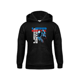 Youth Black Fleece Hood-USA BMX w/2 Riders