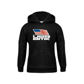 Youth Black Fleece Hood-Flag on Stacked USA BMX