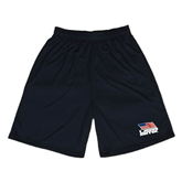 Syntrel Performance Black 9 Inch Length Shorts-Flag on Stacked USA BMX