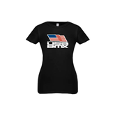 Youth Girls Black Fashion Fit T Shirt-Flag on Stacked USA BMX