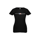 Youth Girls Black Fashion Fit T Shirt-USA BMX w/Flag In Between