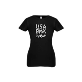 Youth Girls Black Fashion Fit T Shirt-Black USA BMX Chain Letters