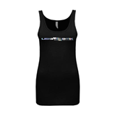Next Level Ladies Junior Fit Black Jersey Tank-USA BMX w/Flag In Between