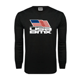 Black Long Sleeve TShirt-Flag on Stacked USA BMX