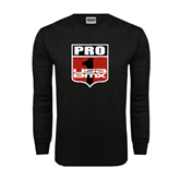 Black Long Sleeve TShirt-PRO 1 USA BMX Shield Distressed