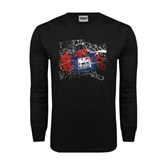 Black Long Sleeve TShirt-USA BMX Swirl Design