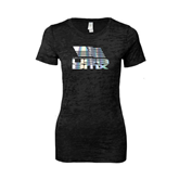 Next Level Ladies Junior Fit Black Burnout Tee-Flag on Stacked USA BMX