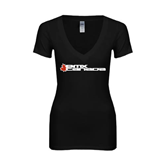 Next Level Ladies Junior Fit Deep V Black Tee-Stacked BMX Canada w/Leaf