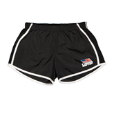 Ladies Black/White Team Short-Flag on Stacked USA BMX