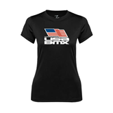 Ladies Syntrel Performance Black Tee-Flag on Stacked USA BMX