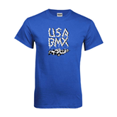 Royal Blue T Shirt-Black USA BMX Chain Letters