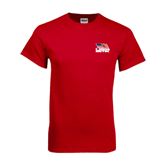 Red T Shirt-Flag on Stacked USA BMX