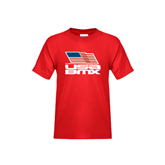 Youth Red T Shirt-Flag on Stacked USA BMX