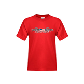 Youth Red T Shirt-USA BMX w/Flag and Swirls