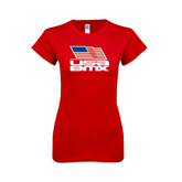 Next Level Ladies SoftStyle Junior Fitted Red Tee-Flag on Stacked USA BMX
