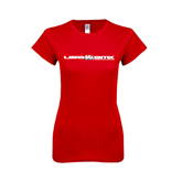 Next Level Ladies SoftStyle Junior Fitted Red Tee-USA BMX w/Riders Between