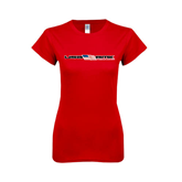 Next Level Ladies SoftStyle Junior Fitted Red Tee-USA BMX w/Flag In Between