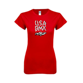 Next Level Ladies SoftStyle Junior Fitted Red Tee-Black USA BMX Chain Letters