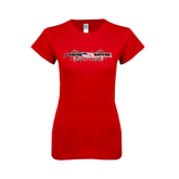 Next Level Ladies SoftStyle Junior Fitted Red Tee-USA BMX w/Flag and Swirls