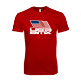 SoftStyle Red T Shirt-Flag on Stacked USA BMX