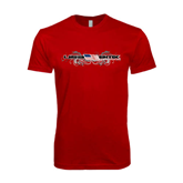 SoftStyle Red T Shirt-USA BMX w/Flag and Swirls