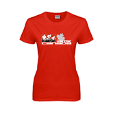 Ladies Red T Shirt-Stacked BMX Canada w/Riders