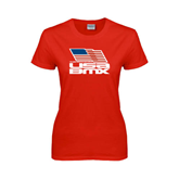 Ladies Red T Shirt-Flag on Stacked USA BMX