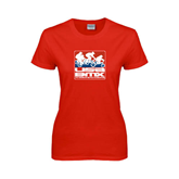 Ladies Red T Shirt-Riders on Stacked USA BMX