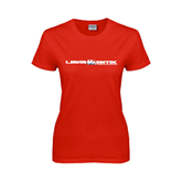 Ladies Red T Shirt-USA BMX w/Riders Between