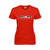 Ladies Red T Shirt-USA BMX w/Flag and Swirls
