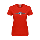 Ladies Red T Shirt-USA BMX w/Flag Shield