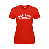 Ladies Red T Shirt-Arched USA BMX 2014 Training Center