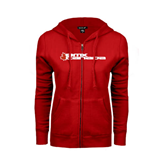 ENZA Ladies Red Fleece Full Zip Hoodie-Stacked BMX Canada w/Leaf