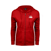 ENZA Ladies Red Fleece Full Zip Hoodie-Flag on Stacked USA BMX