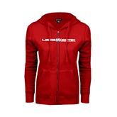 ENZA Ladies Red Fleece Full Zip Hoodie-USA BMX w/Riders Between