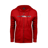 ENZA Ladies Red Fleece Full Zip Hoodie-USA BMX w/Flag In Between