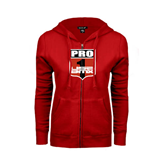 ENZA Ladies Red Fleece Full Zip Hoodie-PRO 1 USA BMX Shield
