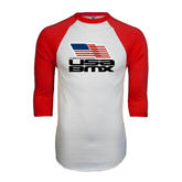 White/Red Raglan Baseball T-Shirt-Flag on Stacked USA BMX
