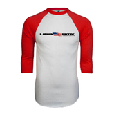 White/Red Raglan Baseball T-Shirt-USA BMX w/Flag In Between