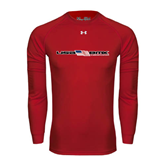 Under Armour Red Long Sleeve Tech Tee-USA BMX w/Flag In Between