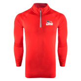 Under Armour Red Tech 1/4 Zip Performance Shirt-Flag on Stacked USA BMX