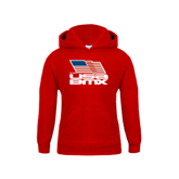 Youth Red Fleece Hood-Flag on Stacked USA BMX