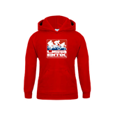 Youth Red Fleece Hood-Riders on Stacked USA BMX